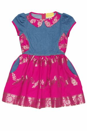 Denim Oriental Print Dress Pink