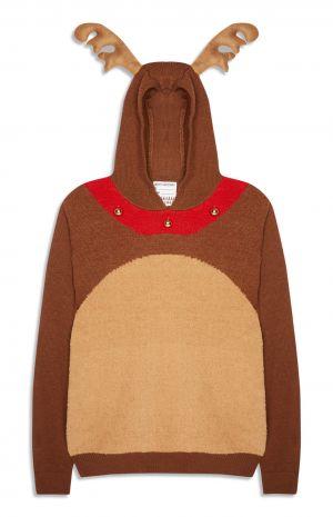 Primark Reindeer Bell Hooded Christmas Jumper