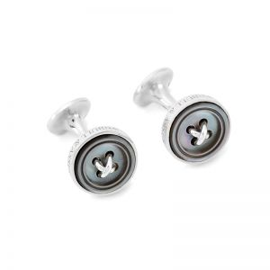 moke Sterling Silver Button Cufflinks