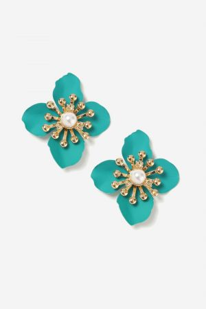 Turquoise Matte Flower Stud Earrings £8