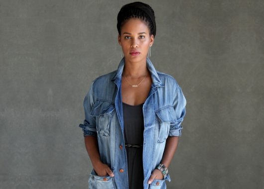 Pictured actress Joy Byrant wearing her clothing brand Basic Terrain