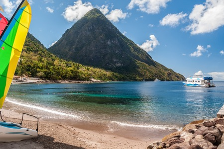 29001793 - beach on st lucia with view at the petit piton
