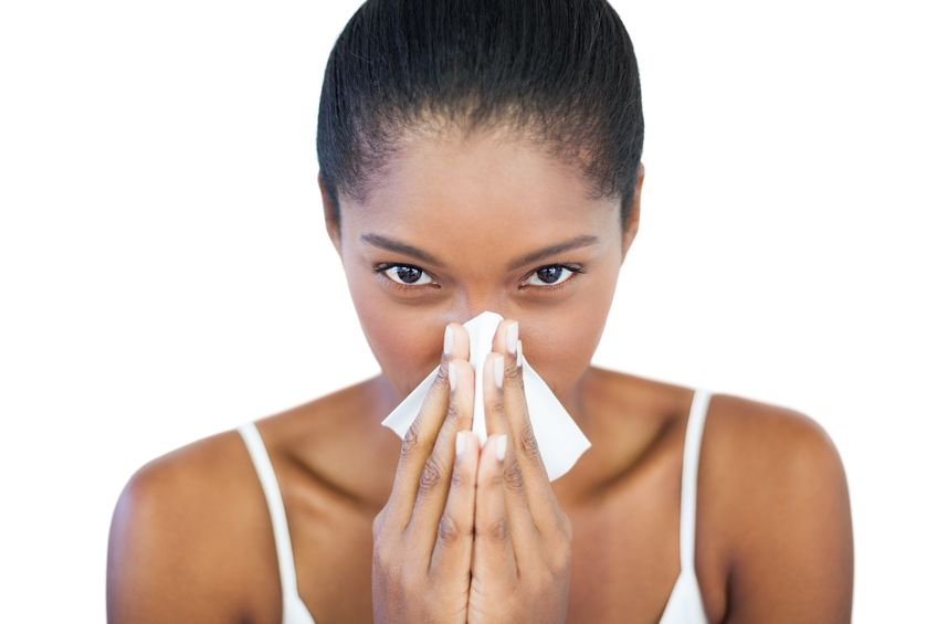 20623984 - serious woman has a cold on white background 10 top tips to handle hay fever this spring!