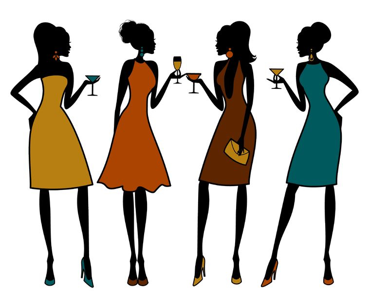 Six alternative ways to celebrate your Hen Do! 11801139 - illustration of group of female friends having a cocktail party. elements are grouped and layered for easy editing.