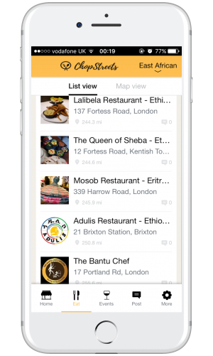 Chopstreets: a new app for African and Caribbean food