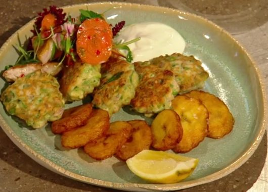 Dish of the week: Marinated red mullet with okra and pea fritters and fried plantain