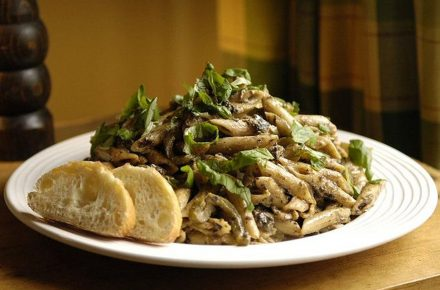 Dish of the week: Creamy Gorgonzola and Pickled Walnut Pasta garnished with fresh basil