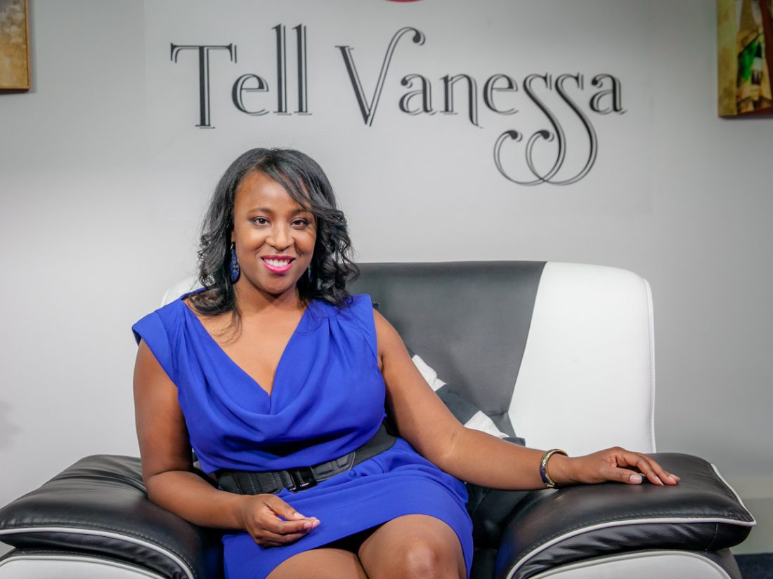 On the sofa with talk show host Vanessa Cruickshank