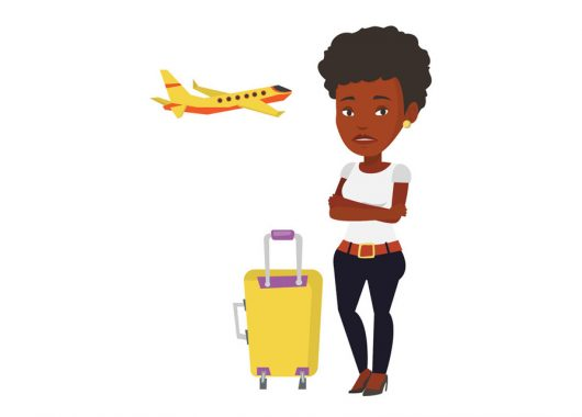 72871626 - young woman suffering from fear of flying. Start your holiday like a boss by avoiding jet lag