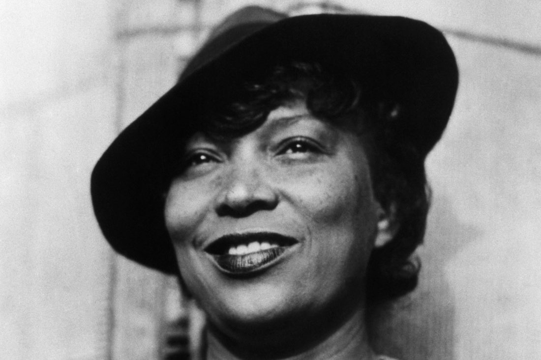 "Corbis Images #IH023962 MAY ONLY BE USED IN CONNECTION WITH ""American Masters: Zora Neale Hurston"". All other uses are prohibited. ca. 1950s, Florida, USA [?] --- Zora Neale Hurston (1903-1960) studied anthropology under scholar Franz Boas. She wrote several novels, drawing heavily on her knowledge of human development and the African American experience in America. She is best known for --- Image by Revisiting a classic: Their Eyes Were Watching God"