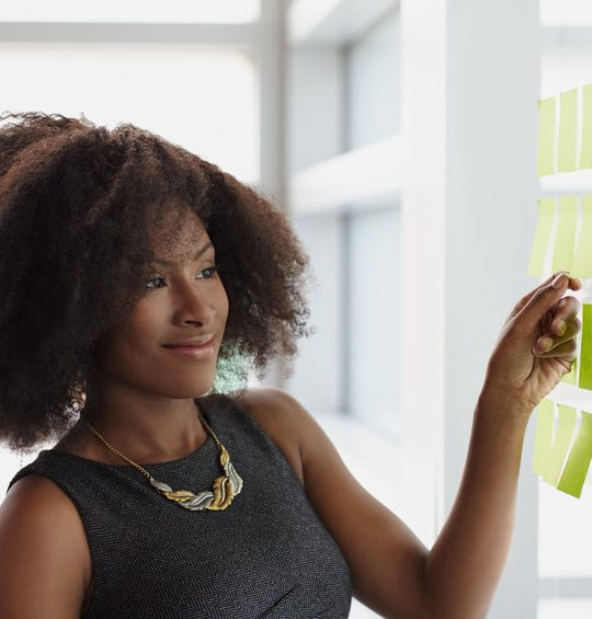 43683165 - friendly african american executive business woman brainstorming using green adhesive notes in a modern white office How to stop business ideas from derailing you