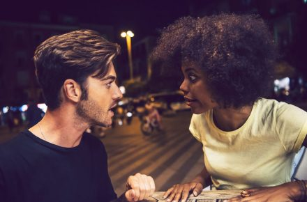 "65238505 - casual interracial couple having an argument in a terrace ""I have a thing for black girls""! Why the #WOC fetish is a problem"