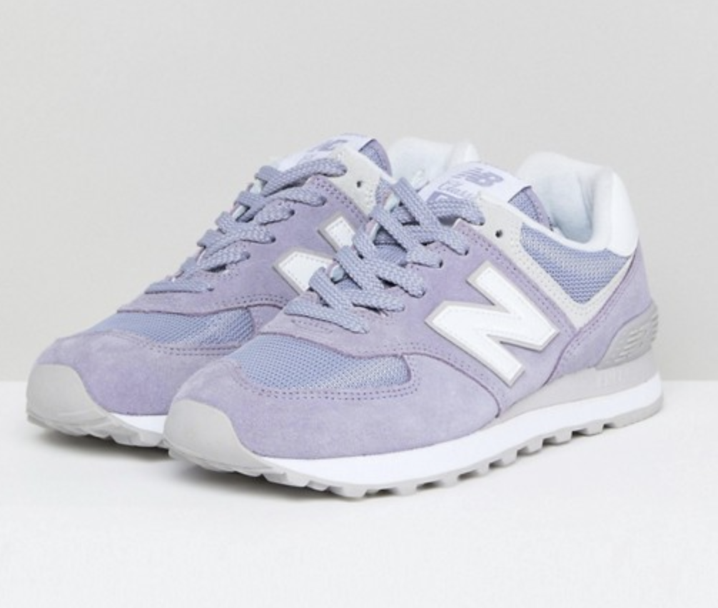 New Balance 574 Suede Trainers in Lilac