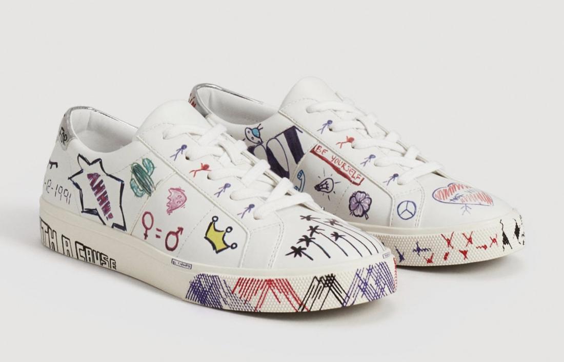 Doodles design sneakers, Mango