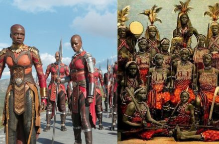 More than a little in common: (left) Dora Milaje (credit Marvel Cinematic Universe) and (right) the Dahomey Amazons