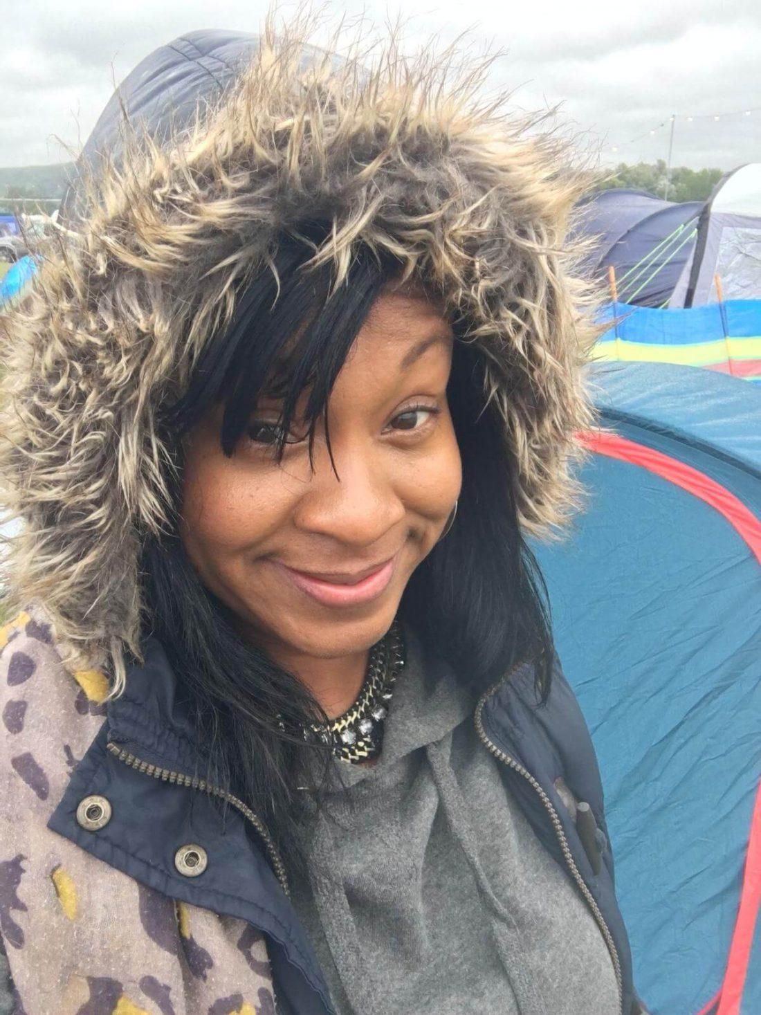Camping Black woman
